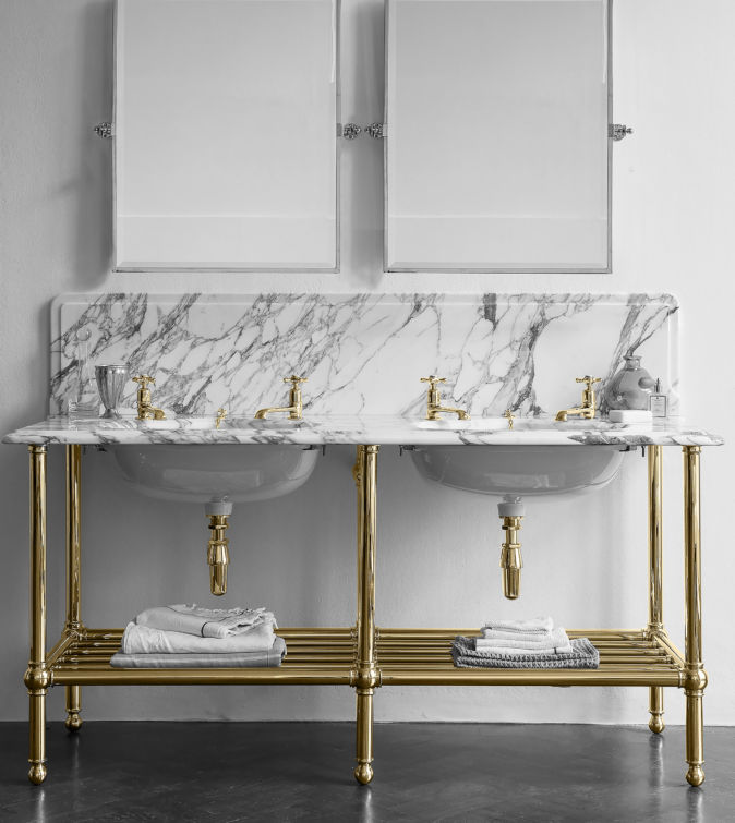 The Double Crake Stand in brass finish