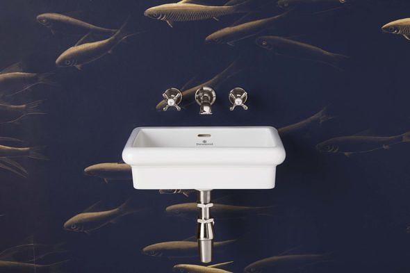 The Bourne Wall Mounted Vanity Basin in chrome finish