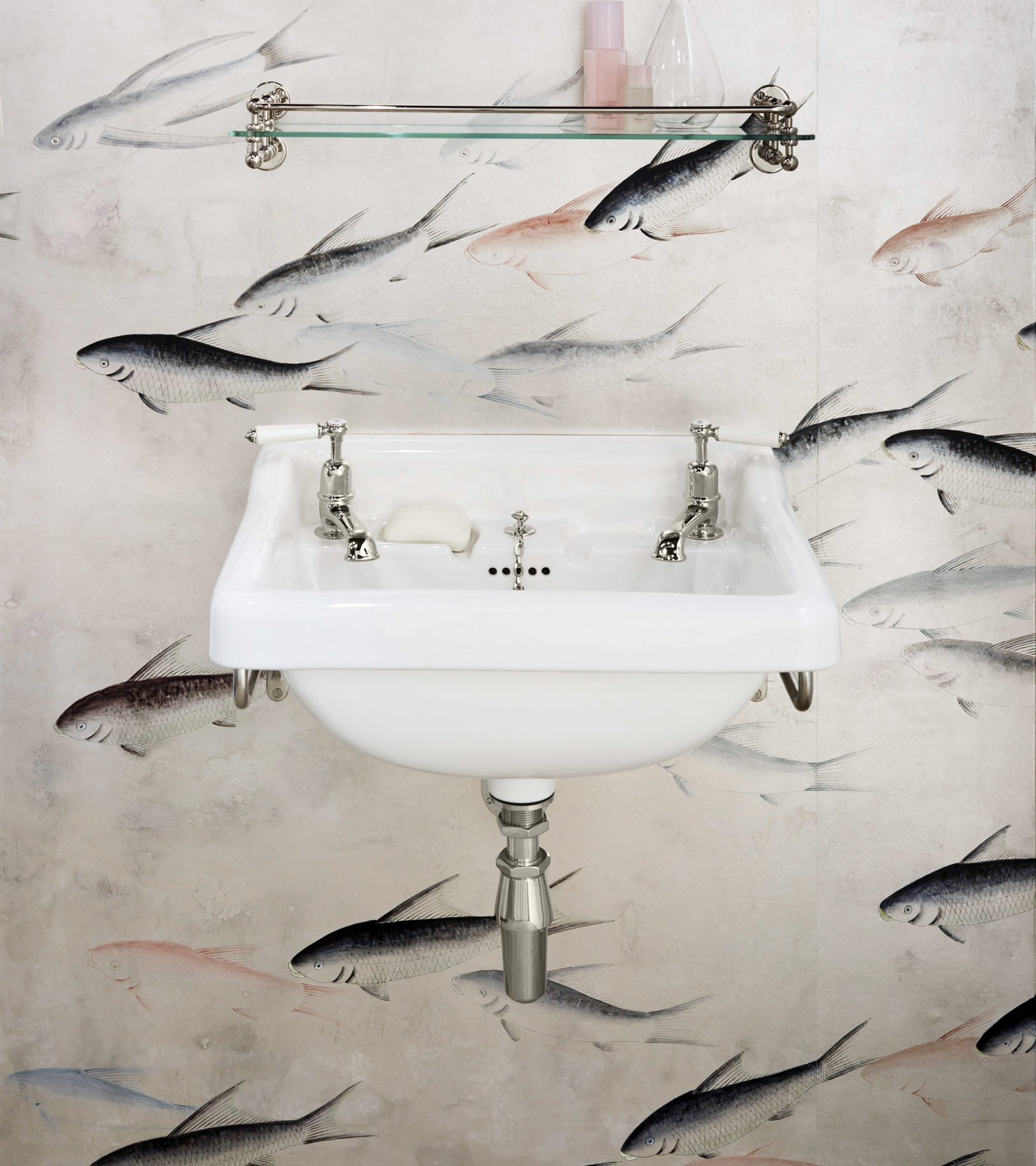 The Syre china wall mounted vanity basin in nickel finish